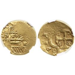 Seville, Spain, cob 2 escudos, Philip III, assayer V, encapsulated NGC XF 40 (erroneously attributed
