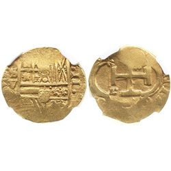 Seville, Spain, cob 2 escudos, Philip III, assayer V, encapsulated NGC XF 40.