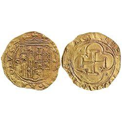 Seville, Spain, 1 escudo, Charles-Joanna, assayer * to right, mintmark S to left.
