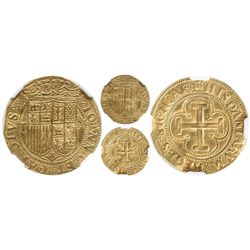 Toledo, Spain, 1 escudo, Charles-Joanna, assayer M to right, mintmark T to left, encapsulated NGC MS