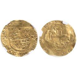 Toledo, Spain, cob 1 escudo, Philip II, assayer M to right, mintmark T to left, encapsulated NGC XF