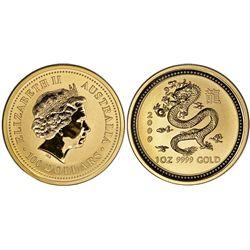 Australia, proof 1-oz bullion $100, 2000, Year of the dragon.