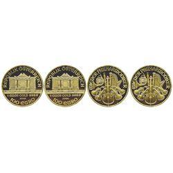 Lot of 2 Austrian 100 euros, 2004, Vienna Philharmonic (each 1 oz .9999 gold).