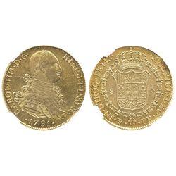 Potosi, Bolivia, bust 8 escudos, Charles III, 1791PR, non-laureate bust, rare (missing in Eliasberg)
