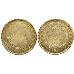 Potosi, Bolivia, bust 8 escudos, Charles IV, 1797PP.