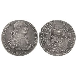 Contemporary counterfeit in platinum of a Potosi, Bolivia, bust 8 escudos, Charles IV, 1804PJ, very