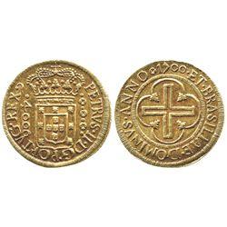 Brazil (Rio mint), 4000 reis, Pedro II, 1700.