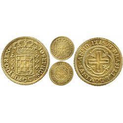 Brazil (struck in Lisbon, Portugal), 4000 reis, Jose I, 1775, large crown, king's name as IOSEPHUS.