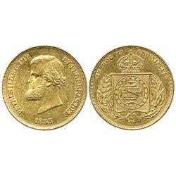 Brazil, 10,000 reis, Pedro II, 1853.