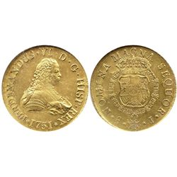 Santiago, Chile, bust 8 escudos, Ferdinand VI, 1751J, from the Luz (1752), encapsulated NGC MS 63.