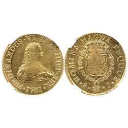 Santiago, Chile, bust 8 escudos, Ferdinand VI, 1751J, from the Luz (1752), encapsulated NGC UNC deta