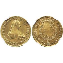 Santiago, Chile, bust 8 escudos, Ferdinand VI, 1751J, from the Luz (1752), encapsulated NGC AU 58.