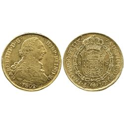 Santiago, Chile, bust 8 escudos, Charles IV (bust of Charles III), 1802JJ.