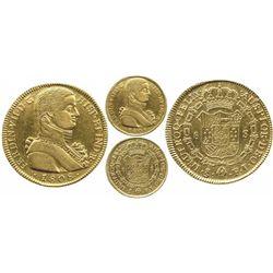 "Santiago, Chile, bust 8 escudos Ferdinand VII transitional (""admiral's bust""), 1808FJ, rare."