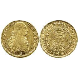 Santiago, Chile, bust 8 escudos, Ferdinand VII (bust of Charles IV), 1813/2FJ.