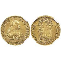 Santiago, Chile, bust 4 escudos, Ferdinand VI, 1749J, from the Luz (1752), encapsulated NGC AU 58.