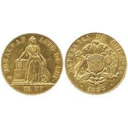 Santiago, Chile, 10 pesos, 1853.