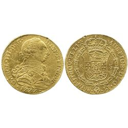 Bogota, Colombia, bust 8 escudos, Charles III, 1777JJ.