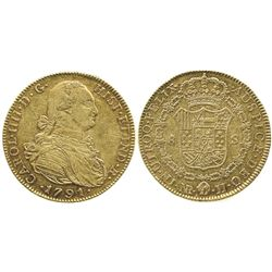 Bogota, Colombia, bust 8 escudos, Charles IV, 1791JJ, no dot between assayers.