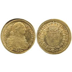 Popayan, Colombia, bust 8 escudos, Ferdinand VII (bust of Charles IV), 1820FM, dot after HISP.