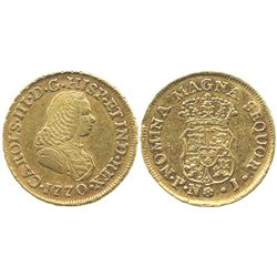 Popayan, Colombia, bust 2 escudos, Charles III (bust of Ferdinand VI), 1770J.