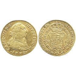 Bogota, Colombia, bust 2 escudos, Charles III, 1772VJ.