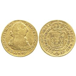 Popayan, Colombia, bust 2 escudos, Charles III, 1779SF.