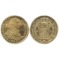 Popayan, Colombia, bust 2 escudos, Charles III, 1787SF.