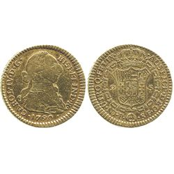 Popayan, Colombia, bust 2 escudos, Charles IV transitional (bust of Charles III, ordinal IV), 1790/8