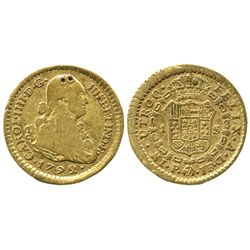 Popayan, Colombia, bust 1 escudo, Charles IV, 1792JF.