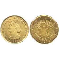 Bogota, Colombia, 8 escudos, 1828RS, encapsulated NGC AU 55.