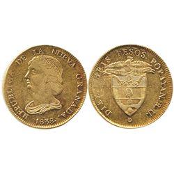 Popayan, Colombia, 16 pesos, 1838RU.
