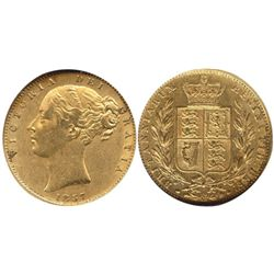 London, England, sovereign, Victoria (young head), 1857, from the Douro (1882), encapsulated NGC AU