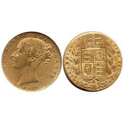 London, England, sovereign, Victoria (young head), 1862, from the Douro (1882), encapsulated NGC AU