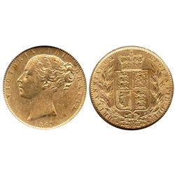 London, England, sovereign, Victoria (young head), 1863, die 13, from the Douro (1882), encapsulated