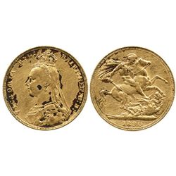 London, England, sovereign, Victoria (jubilee head), 1890, extremely rare as 1 of only 3 gold coins
