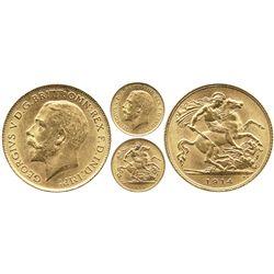 London, England, 1/2 sovereign, George V, 1914.