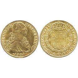 Mexico City, Mexico, bust 8 escudos, Charles IV, 1794FM.