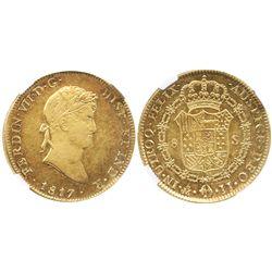 Mexico City, Mexico, bust 8 escudos, Ferdinand VII, 1817JJ, encapsulated NGC AU 55.