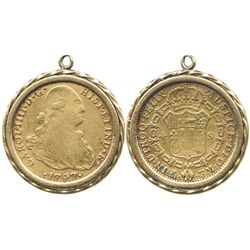 Mexico City, Mexico, bust 4 escudos, Charles IV, 1797FM, mounted in 18K(?) pendant-bezel.