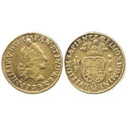 Mexico City, Mexico, bust 1 escudo, Phillip V, 1739/6MF (unlisted overdate).