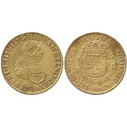 Lima, Peru, bust 8 escudos, Ferdinand VI, 1758JM.