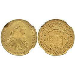 Lima, Peru, bust 8 escudos, Charles IV, 1796IJ, ex-Holmes collection, encapsulated NGC XF details /