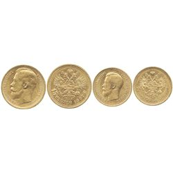 Lot of 2 Russia gold coins of 1897: 15 roubles and 7-1/2 roubles.
