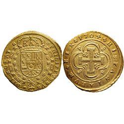 Seville, Spain, 8 escudos, Philip V, 1704P.