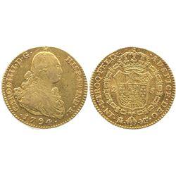 Madrid, Spain, bust 2 escudos, Charles IV, 1794MF.