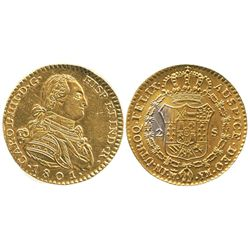 Contemporary counterfeit in gilt platinum of a Madrid, Spain, bust 2 escudos, Charles IV, 1801FM, ve