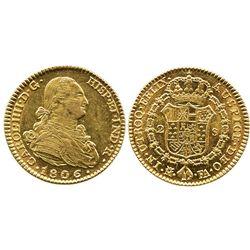 Madrid, Spain, bust 2 escudos, Charles IV, 1806FA.