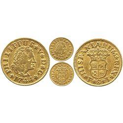 Seville, Spain, bust 1/2 escudo, Philip V (new bust), 1744PJ.
