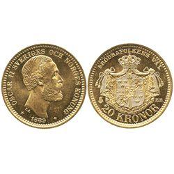 Sweden, 20 kronor, Oscar II, 1889.